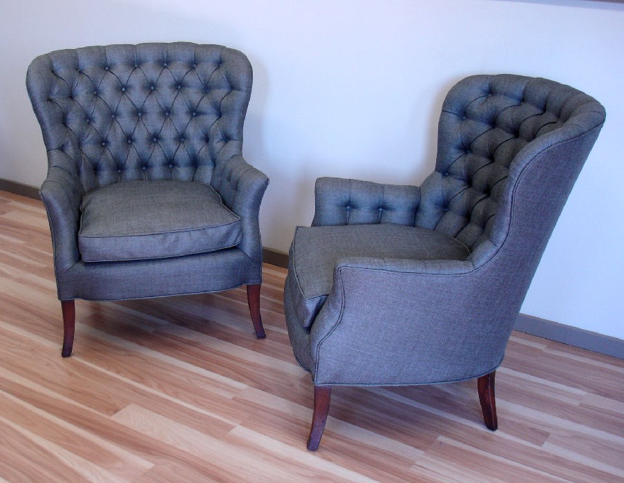A Pair Of Reupholstered Button Tufted Chairs. Andu2026