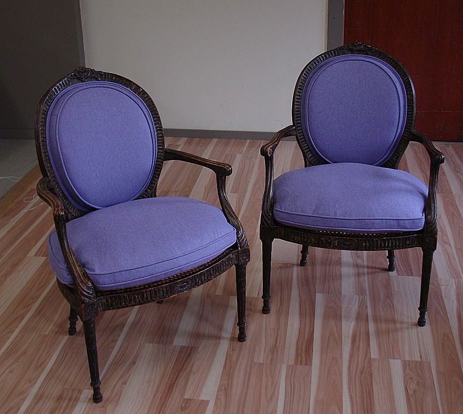 Some purple chairs reupholstered acanthus for Reupholstered furniture for sale